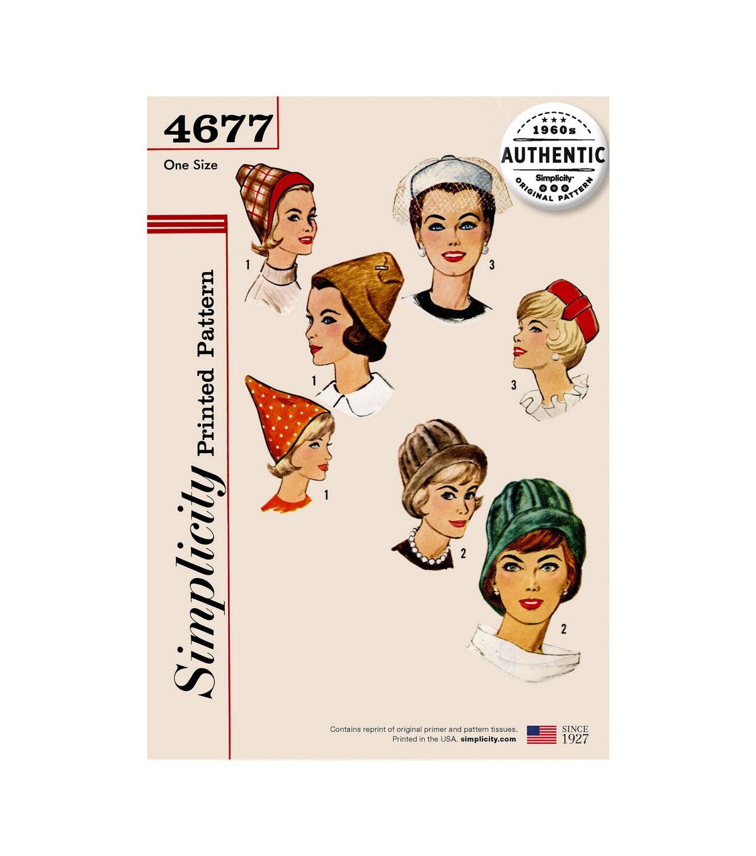 1960s – 70s Sewing Patterns- Dresses, Tops, Pants, Mens Simplicity Pattern 4677 Vintage Set of Hats $16.06 AT vintagedancer.com