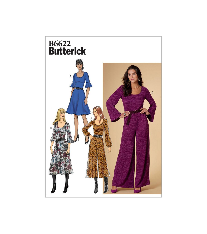 1960s – 70s Sewing Patterns- Dresses, Tops, Pants, Men's Butterick Pattern B6622 Misses Dress  Jumpsuit Size 14 16 18 20 22 $13.96 AT vintagedancer.com