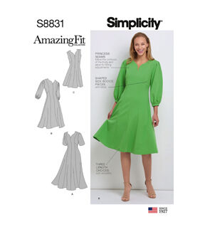 1960s – 70s Sewing Patterns- Dresses, Tops, Pants, Mens Simplicity Pattern S8831 Misses  Womens Dress - Size BB 20W - 28W $15.36 AT vintagedancer.com