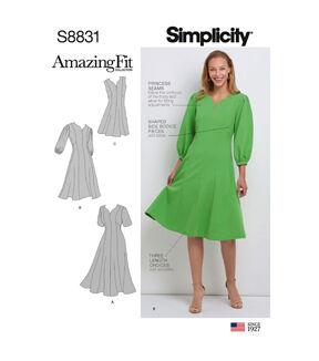1960s – 70s Sewing Patterns- Dresses, Tops, Pants, Men's Simplicity Pattern S8831 Misses  Womens Dress - Size BB 20W - 28W $15.36 AT vintagedancer.com