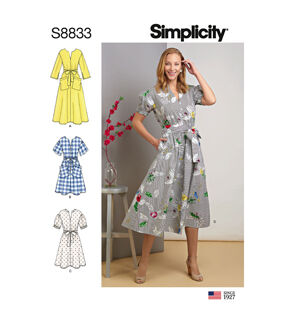 1960s – 70s Sewing Patterns- Dresses, Tops, Pants, Men's Simplicity Pattern S8833 Misses  Miss Petite Dress - Size U5 16 - 24 $20.95 AT vintagedancer.com