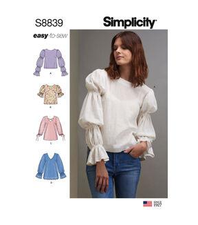 1960s – 70s Sewing Patterns- Dresses, Tops, Pants, Men's Simplicity Pattern S8839 Misses Pullover Tunics  Tops - Size H5 6 - 14 $13.96 AT vintagedancer.com