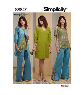 1960s – 70s Sewing Patterns- Dresses, Tops, Pants, Men's Simplicity Pattern S8847 Misses  Miss Petite Apparel - Size U5 16 - 24 $14.66 AT vintagedancer.com