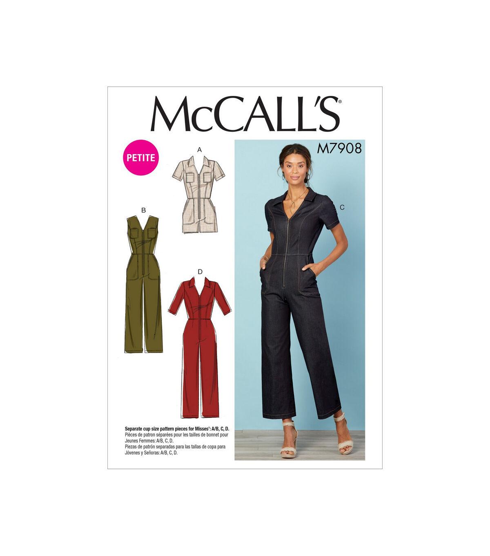 1960s – 70s Sewing Patterns- Dresses, Tops, Pants, Men's McCalls Pattern M7908 Misses  Miss Petite Jumpsuits Size 14 22 $13.96 AT vintagedancer.com