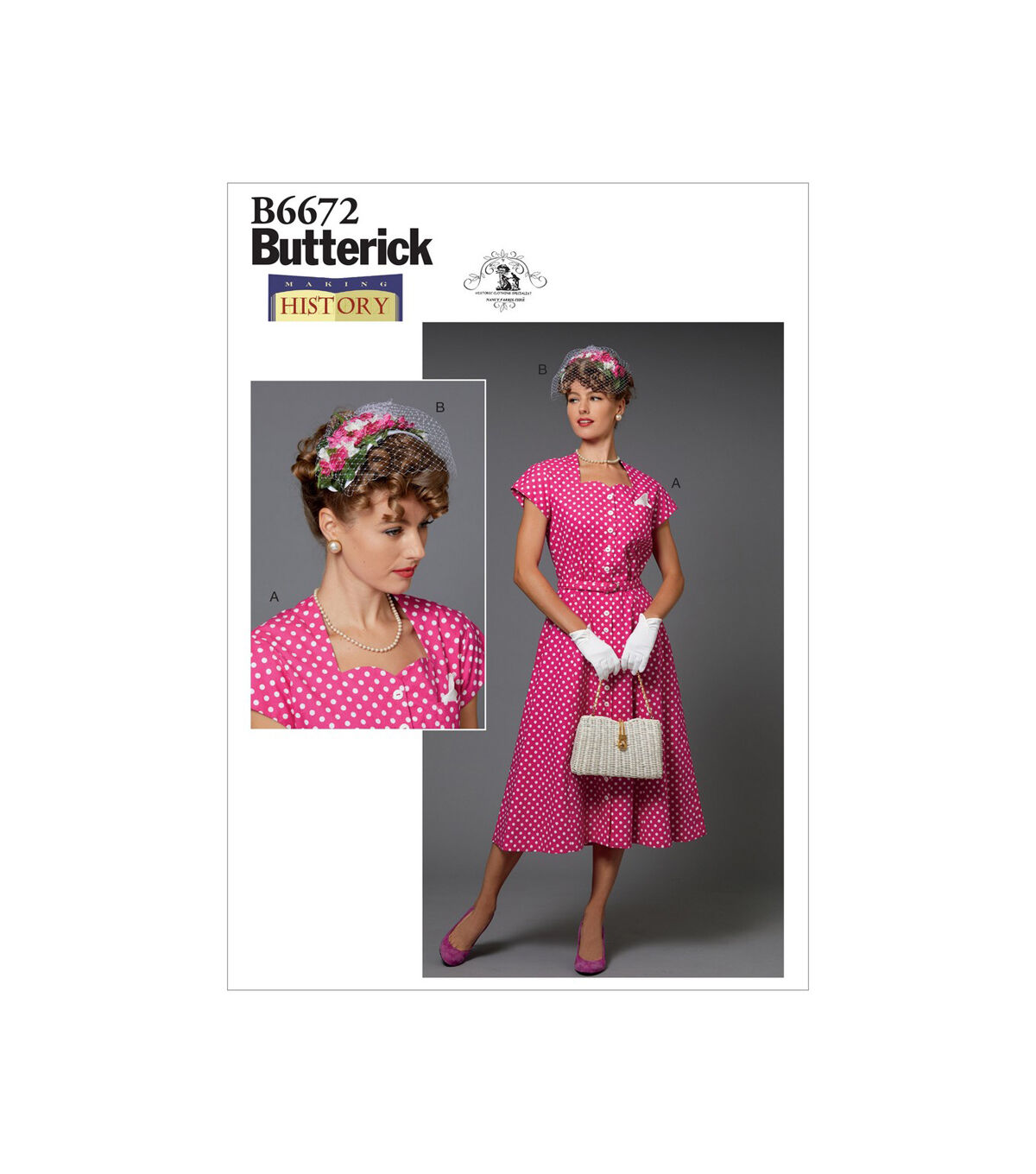 1940s Fabrics and Colors in Fashion Butterick Pattern B6672 Misses Costume  Hat - Size 6 - 8 - 10 - 12 - 14 $14.66 AT vintagedancer.com