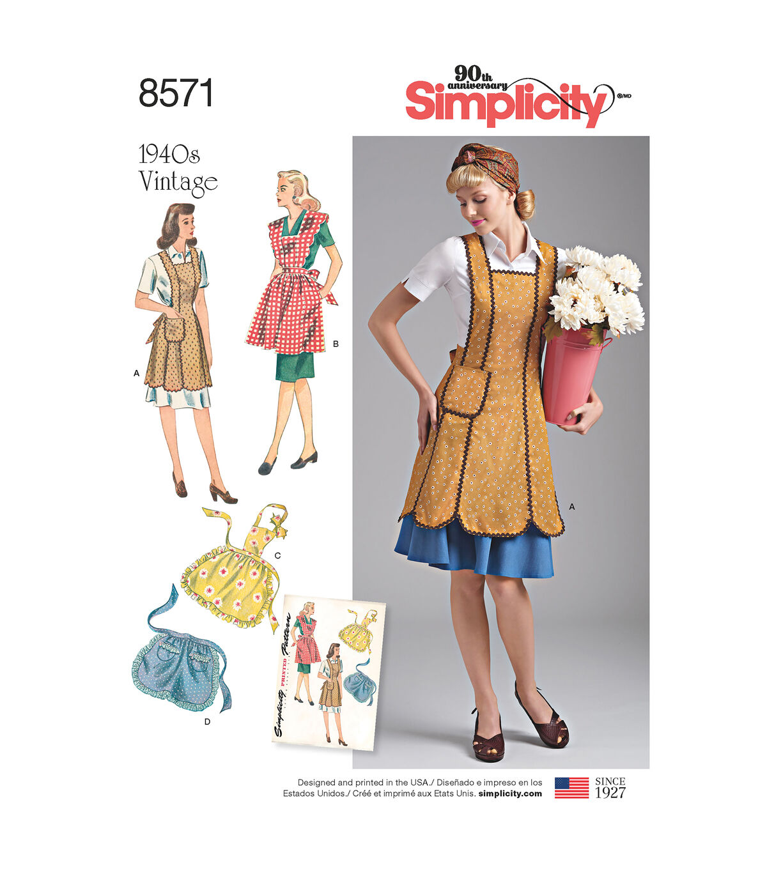 1950s House Dresses and Aprons History Simplicity Pattern 8571 Misses 1940s Vintage Aprons - Size A S - M - L $22.95 AT vintagedancer.com