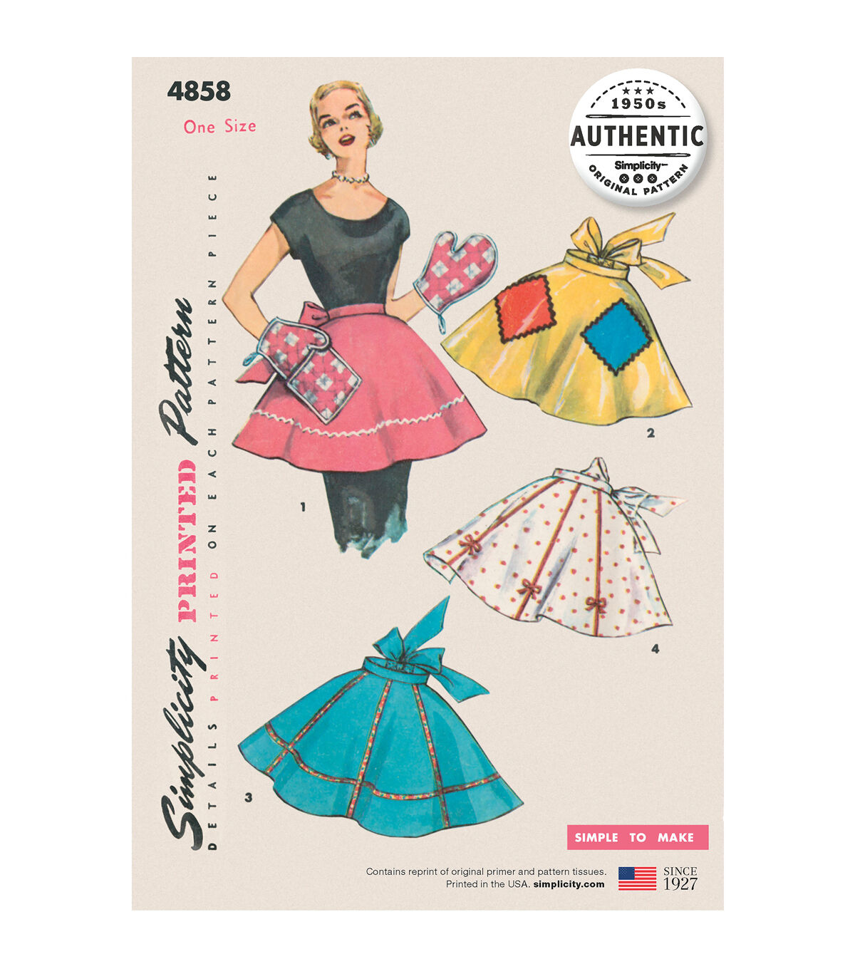 1950s House Dresses and Aprons History Simplicity Pattern 4858 Vintage Apron Plus Mitts $22.95 AT vintagedancer.com