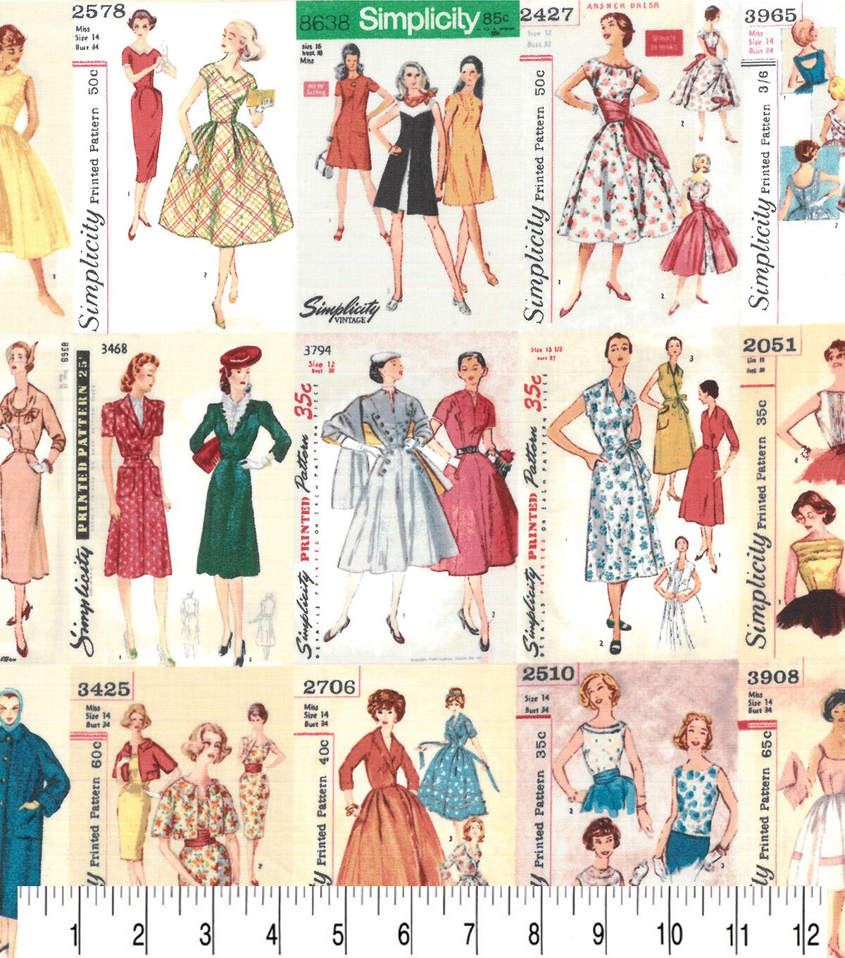 1950s Sewing Patterns | Dresses, Skirts, Tops, Mens Premium Cotton Fabric Simplicity Vintage Patterns $8.99 AT vintagedancer.com