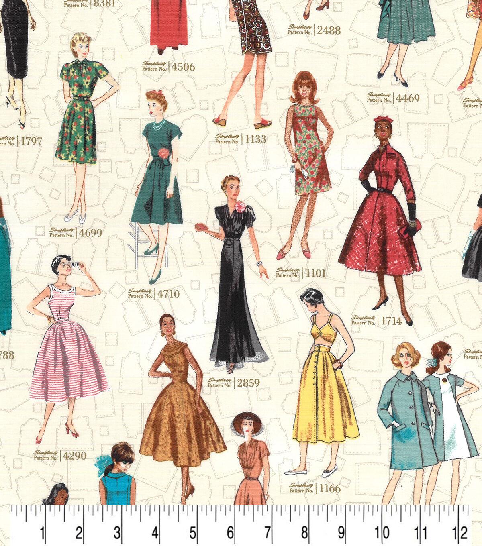 1950s Sewing Patterns | Dresses, Skirts, Tops, Mens Premium Quilt Cotton Simplicity Vintage Fabric Ladies  Patterns $8.99 AT vintagedancer.com