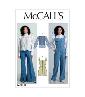 1960s – 70s Sewing Patterns- Dresses, Tops, Pants, Men's McCalls Pattern M8008 Misses Top Romper  Overalls - Size 14 - 16 - 18 - 20 - 22 $19.95 AT vintagedancer.com