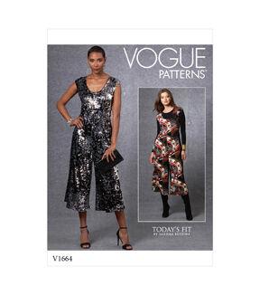 1960s – 70s Sewing Patterns- Dresses, Tops, Pants, Men's Vogue Pattern V1664 Misses Jumpsuit $22.40 AT vintagedancer.com