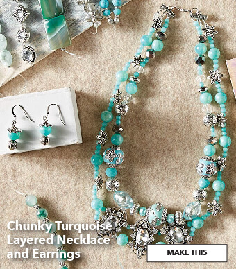 How to make a Chunky Turquoise Layered Necklace and Earrings. Make This.