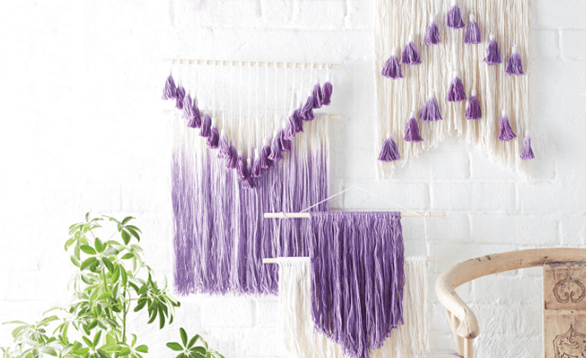 Image of yarn wall art.