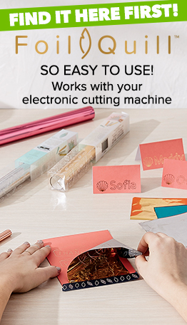 NEW Foil Quill is so easy to use.  It works with your electronic cutting machine, and is available at JOANN