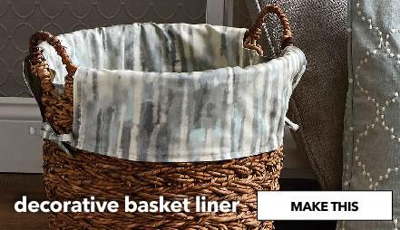 Decorative basket liner. Shop Now.