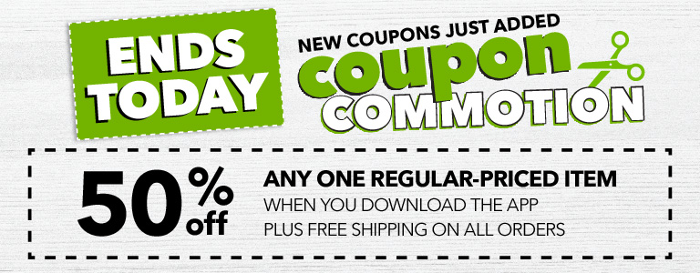 50% off any one regular-priced item when you download the app plus free shipping on all orders