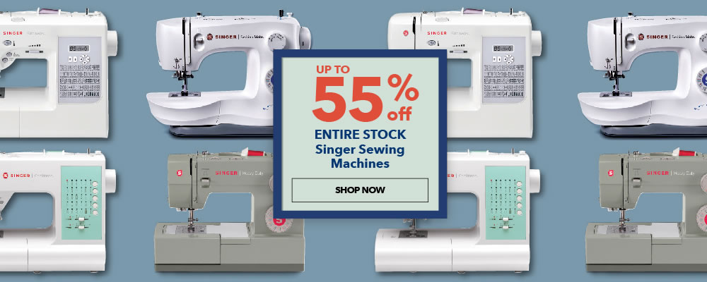Up to 55% off Entire Stock Singer Sewing Machines. Shop Now.
