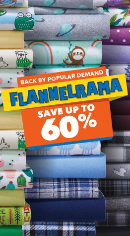 Up to 60% off all Flannel fabrics, only at JOANN