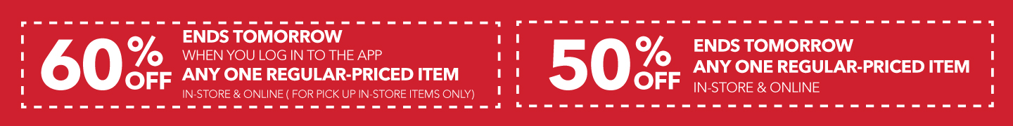 Log in to the app for 60% off any one regular-priced item.