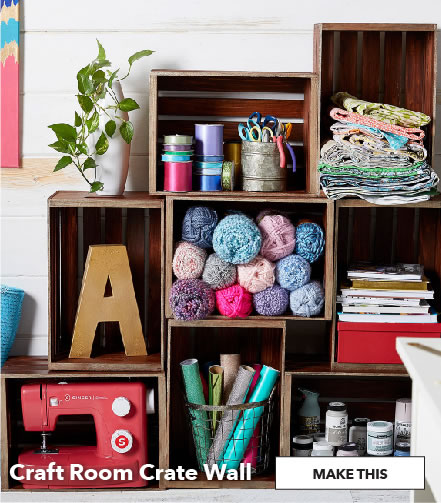 Craft Room Crate Wall. Make This.