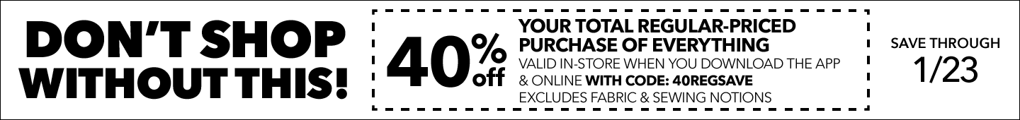 DON'T SHOP WITHOUT THIS! 50% Off any one regular-priced item valid in-store when you download the app & online with code: 50JANREG