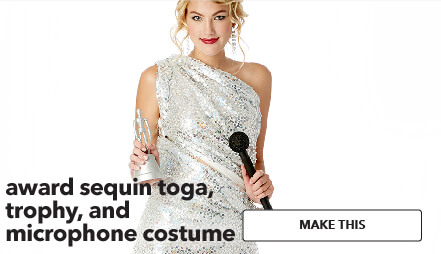 Award Sequin Toga, Tophy, and Microphone costume. Make This.