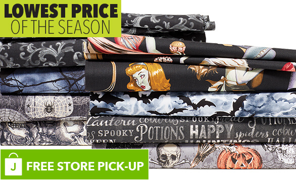 Image of Halloween Cotton Fabrics. BUY ONLINE, PICK-UP IN-STORE. LOWEST PRICE OF THE SEASON.
