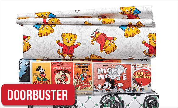 50% Off Licensed Character Fabrics & No-Sew Throw Kits. Shop Now.