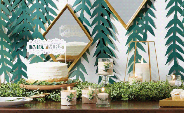 Greenery brides focus less on floral and more on pretty plants. Go modern with geometric shapes and finishes like brass and glass.
