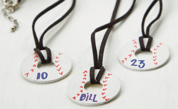Image of baseball necklace.