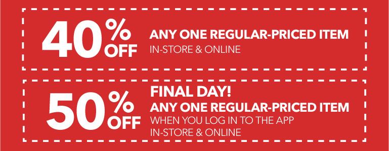 50% off any one regular-priced item when you log in to the app
