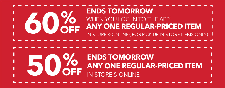 Log in to the app for 60% off any one regular-priced item