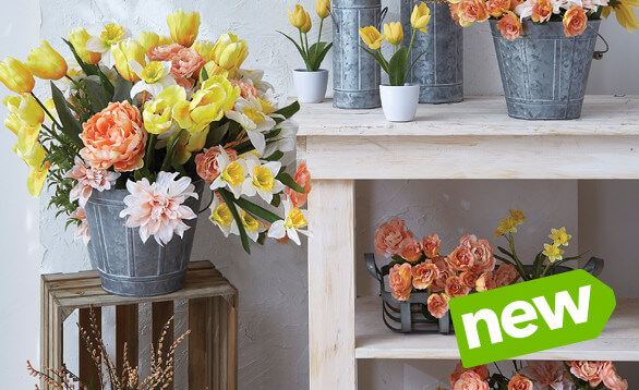 Fresh Picked Spring Floral, Containers & Ribbon. Shop Now.