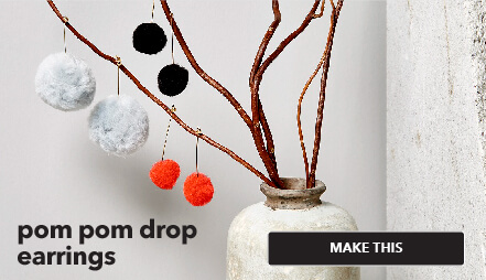 Pom Pom Drop Earrings. Make This.