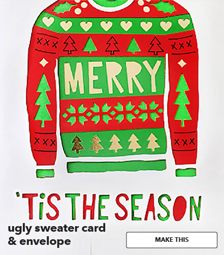 Ugly Sweater Card and Envelope. Make This.