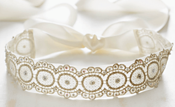 Image of a lace wedding belt.
