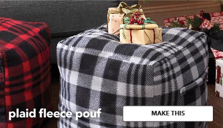 Plaid Fleece Pouf. Make This.