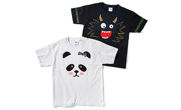 Image of kids t-shirts decorated like a panda and a monster.