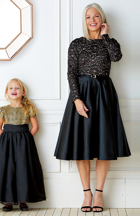 Glitzy Dresses For Granddaughters and Grandmother.
