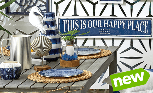 Sophisticated yet casual! Sail into summer with the coolest shades of blue. Includes decor, entertaining & textiles.