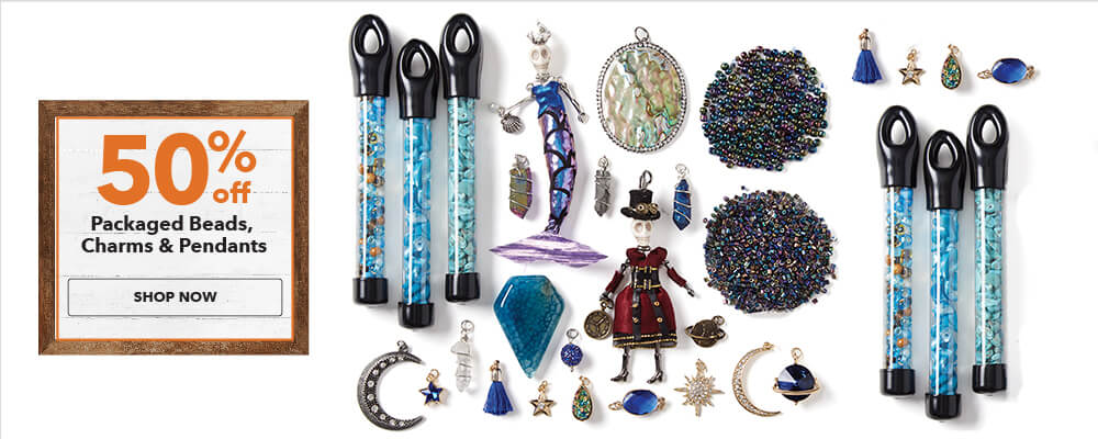 50% off Packaged Beads, Charms and Pendants. Shop Now.