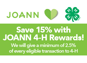 Joann loves 4-H. Save 15% using your 4-H rewards. Learn More