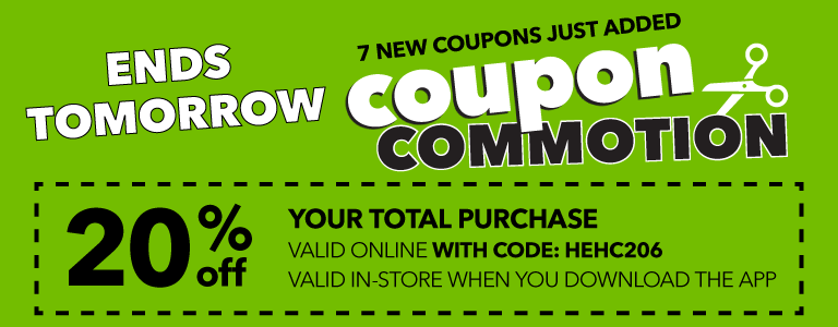 20% percent off your total purchase. Online with code, and in-store when you log in to the app. PLUS lots more coupons during coupon commotion!