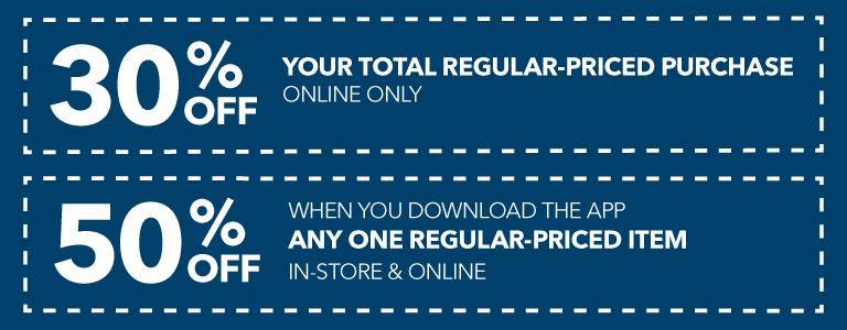 50% off any one regular priced item when you download the app plus lots more coupons