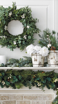 Floral Wreath and Pots.
