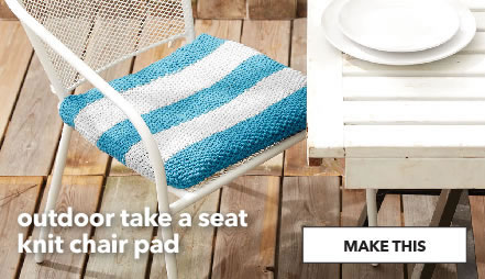 Outdoor take a seat knit chair pad. Shop Now.