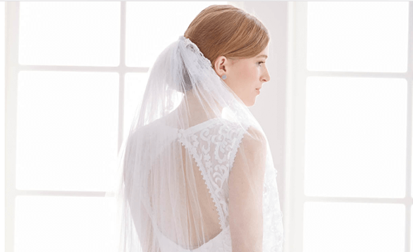 Image of a trimmed wedding veil.