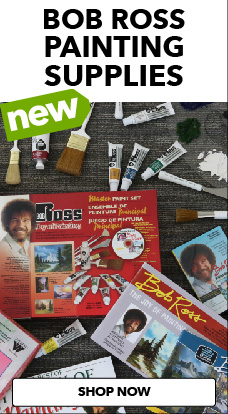JOANN now carries Bob Ross painting supplies, to paint happy little trees.