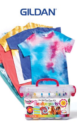 Summer is the time to tie-dye. And JOANN has everything you need to do it! Create cool tees for the entire family, from Gildan!