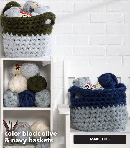 ow to make color block olive navy baskets. Make This.